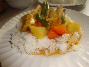 Malaysian Chicken curry with rice