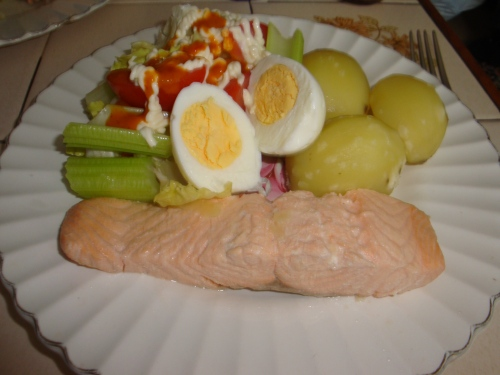 poached salmon with potatoes and crisp salad