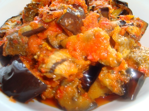 grilled aubergine in sambal