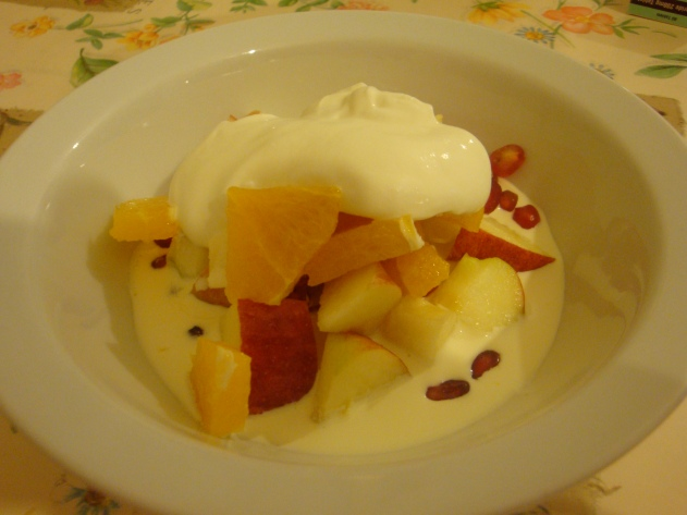 mixed fruits with cream and yoghurt
